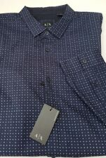 A/X Armani Exchange Mens Navy Blue Dress Shirt White Dot Print SLIM XXL TTG NEW