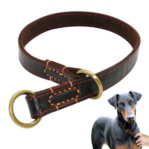 Genuine Leather Hand Crafted Slip Dog Choke Collar Boxer Pitbull Training Collar
