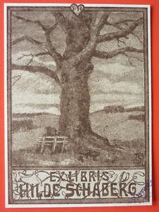 "Exlibris, Bookplate ""Hilde Schaberg"" Jugendstil, signiert"