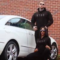 King or Queen Black Embossed Hoodies Twin Pack. Couples Matching Royalty Gifts