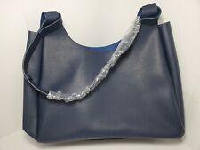 Neiman Marcus Dark Blue Faux Leather Tote Satchel Shoulder Bag NEW