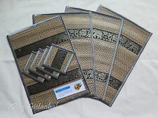 4 Thai Elephant Silk and Reed Dining Table Mats & Drinks Coasters Placemat