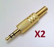 Clavija Conector Jack Macho Estereo 3,5 mm Metalico Dorado - Pack De 2 Unidades