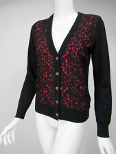 MICHAEL KORS COLLECTION Black Hot Pink Cashmere Lace Overlay Cardigan sz XS