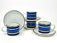 Midwinter Stonehenge MOON 8oz Cup Saucer Set 8Pc Oatmeal Blue Iron Oxide England