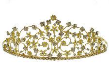 SC Rhinestone Crystal Prom Bridal Wedding Gold Tiara Crown With Flowers 6087G8