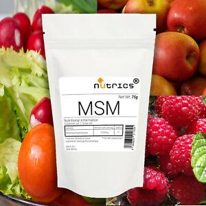 Nutrics® 100% Pure Organic Sulfur MSM Methylsulfonylmethane 75g Powder