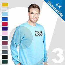 4 X Personalised Embroidered / Printed Sweatshirts Customised Workwear Text/Logo