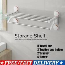 2 Tier 50cm Towel Rail Rack Holder Wall Suction Bathroom Shelf Chrome Silver UK
