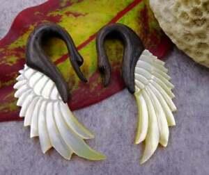 Vintage Swans Wings 5mm Gauges Earrings Brown Wood, Shell Gift For Her