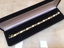 """14K Yellow Gold 7"""" XO Polished & Satin Link Bracelet - Stunning ITALY MUST SEE"""