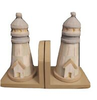 "Midwest Of Cannon Falls Wooden Lighthouse Bookends 8"" Tall"