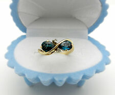 Kiss Style Paraiba Color Topaz with Accents 10k Yellow Gold Ladies Ring size 6