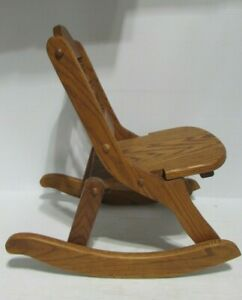 """VTG HANDCRAFTED WOODEN COLLAPSIBLE CHILD ROCKING CHAIR EUC 18"""" TALL"""
