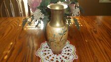 Vintage Solid Brass w Enameled Flower Decoration Vase Made in India
