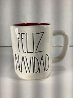 "New Ceramic RAE DUNN Christmas ""Feliz Navidad"" Mug Ivory With Red Interior-18 oz"