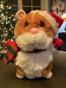 ULTRA RARE - GEMMY DANCING Christmas Hamster With Hat And Red/green Scarf 2012