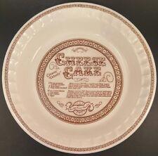 "*Cheese Cake Cheesecake Royal China Jennette Deep Dish Pie Plate 11"" Recipe"