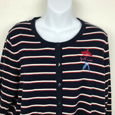 NEW Talbots Womens Navy Blue Red Hat Society Striped Button Cardigan Sweater 1X