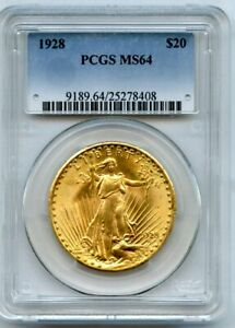1928 Twenty Dollar $20 Saint Gaudens Double Eagle  PCGS 64