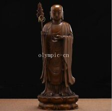 15'' pure red copper sculpture buddha Tang Monk Xuanzang ksitigahba Buddhisattva