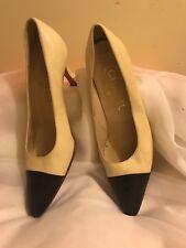 "Chanel shoes black beige 3"" heels  SZ 38 made france"