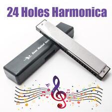 Silver Swan Tremolo 24 Holes 48 Tones Key of C blues Harmonica with box US Ship