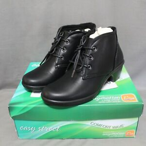 """EASY STREET womens lace up zip up side 2"""" heel ankle boots size 7 W black NEW"""