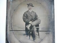 Antique 1890s Tintype Photograph Victorian MAN American Frontier Wild West