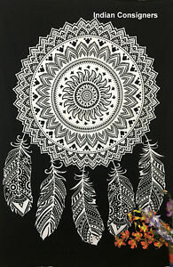 Good Looking White Color Dream Catcher Twin Size Tapestry 100% Cotton Fabric