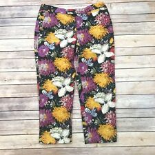 Anthropologie Elevenses 4 Floral Cropped Pants Capri Watercolor