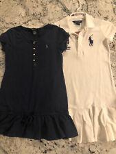 2 Polo Ralph Lauren Cotton Dresses White Big Pony GBR & Navy blue jersey 8/10
