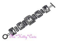 Deco Nouveau Regency Victorian Vintage Lk Black Rec Lead Crystal Toggle Bracelet