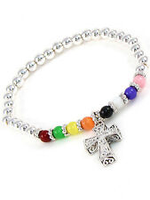Childrens Multi-Colored Beaded Stretch Bracelet With Cross Charm