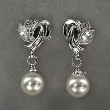 9K WHITE GOLD FILLED CLEAR MADE WITH SWAROVSKI CRYSTAL PEARL STUD EARRINGS