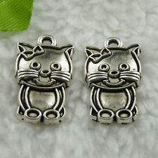 Free Ship 120 pcs  tibet silver cat charms 20x12mm #401