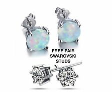 Opal 6mm Round Stud Earrings 14Kt White Gold