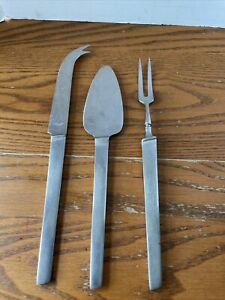 Stainless Cheese hors d'oeuvre CheeseServing Set mid-century MCM Set Of 3 Japan