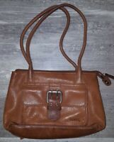 FOSSIL Vintage Brown Leather Satchel Shoulder Hand Bag Buckle Purse