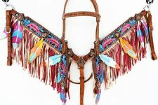 PINK BLUE NAVAJO FEATHER FRINGE WESTERN HORSE HEADSTALL BRIDLE BREASTCOLLAR SET