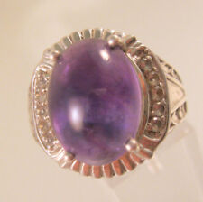 Vintage STS Chuck Clemency Genuine Cabochon Amethyst Sterling Silver Ring Sz 12