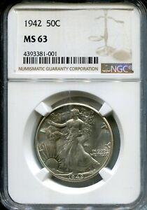 1942 US Liberty Walking Half Dollar- NGC MS63