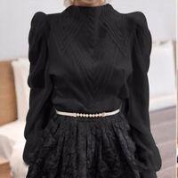 Lady Chiffon Victorian Shirt Blouse Top High Neck Frill Lantern Sleeve Retro New