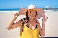 UPF 50+ Protection Women's Beach Summer Wide Brim Solid Color Floppy Sun Hat Cap