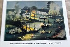 Currier & Ives Reprint Naval Triumph on Mississippi 16x11 Offset Lithograph