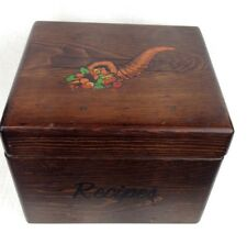 vintage Huge wood recipe box full of clipped & written recipes rustic