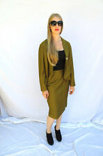 Womens Raw Silk Suit Olive Mustard 60s Jackie O Pencil Skirt Sz M Retro Vintage