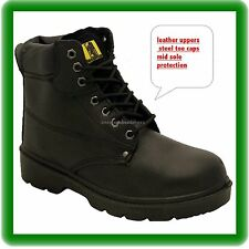 MENS NEW LEATHER  SAFETY  WORK  BOOTS STEEL TOE CAP  SHOES   SIZE uk 8 BLACK