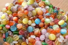 50x Mixed Glass Round Cat Eye Beads Flat Back 8mm 10mm  (TSC69)