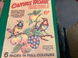 VINTAGE SEWING Leach's Canvas Work petit point and cross stitch jMagazine